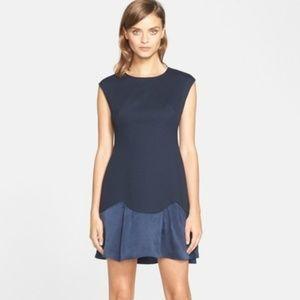 Rebecca Taylor Pique Knit Ruffle Hem Dress 2 NEW